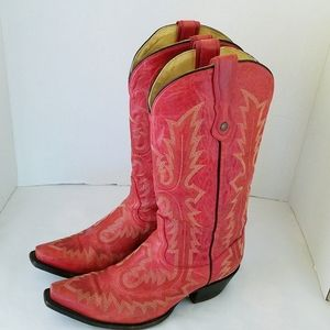 Corral Picasso Red Embroidered Snip Toe Boots